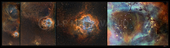 Rosette Nebula, a zoom in series